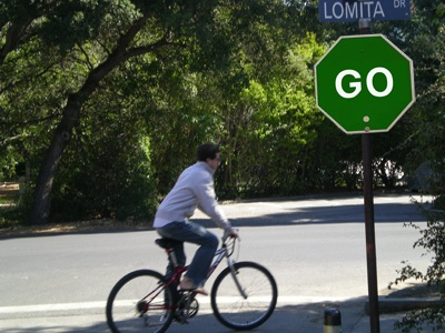 Campus Police Give Up, Replace 'STOP' Signs  With 'GO' Signs