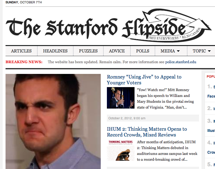 Campus Satire Publication Changes Website the Day After Telling Reporter Otherwise