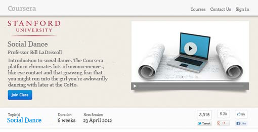Coursera to Offer Social Dance
