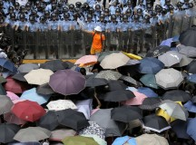 Hong Kong Protestors Resort to Violence, Umbrellas