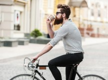 Coffee-Holding Biker in for a Fucking Lesson