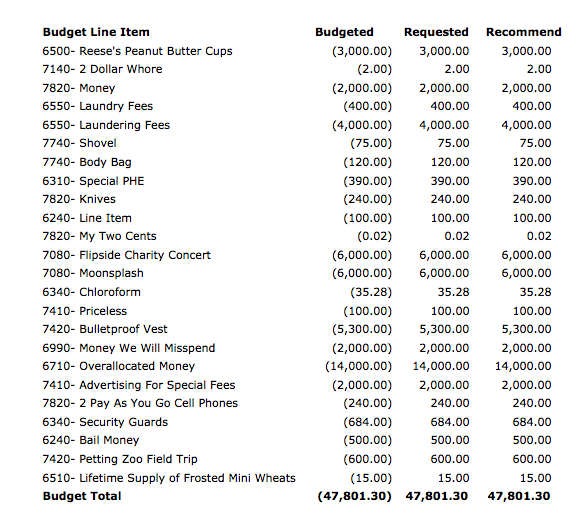 Stanford Flipside Special Fees Budget