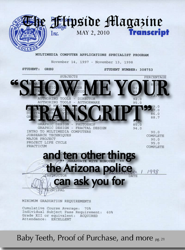 "The Flipside Magazine: ""Show Me Your Transcript"""