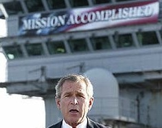 "Bush Refuses To Give Obama ""Mission Accomplished"" Banner"