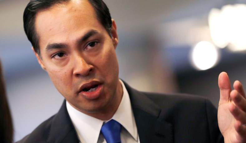 Former HUD Secretary and Democratic presidential candidate Julian Castro speaks to members of the media the morning after participating in the first U.S. 2020 presidential election Democratic candidates debate in Miami, Florida, U.S., June 27, 2019. REUTERS/Mike Segar - RC1F50F138F0
