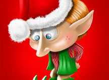 Here is a sad little Christmas elf cartoon.  This sad little elf looks down to his feet because he is to sad to look up.  This little elf wears a red Santa hat with green elf shoes.