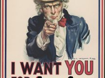 "I want you for U.S. Army : nearest recruiting station / James Montgomery Flagg. 1917. Library of Congress..War poster with the famous phrase ""I want you for U. S. Army"" shows Uncle Sam pointing his finger at the viewer in order to recruit soldiers for the American Army during World War I. The printed phrase ""Nearest recruiting station"" has a blank space below to add the address for enlisting...http://hdl.loc.gov/loc.pnp/ppmsca.50554"