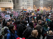 Hundreds gather at Daley Plaza for an anti-Trump rally on Inauguration Day, Jan. 20, 2017. | Ashlee Rezin/Sun-Times